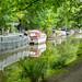 Barge and narrowboats.