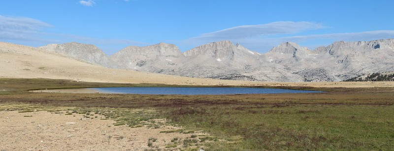 High lake at 11400 feet elevation in the Bighorn Plateau, south of Tawny Point, on the John Muir Trail