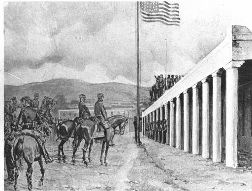 Inaccurate drawing of Stephen Kearny and the Army of the West at Santa Fe, New Mexico, on August 18, 1846. Drawn by Kenneth Chap in January 1909.