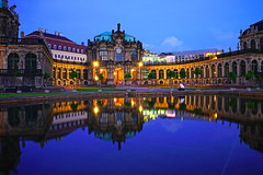Dresden at the blue hour. Magnificent reflection of Zwinger Palace