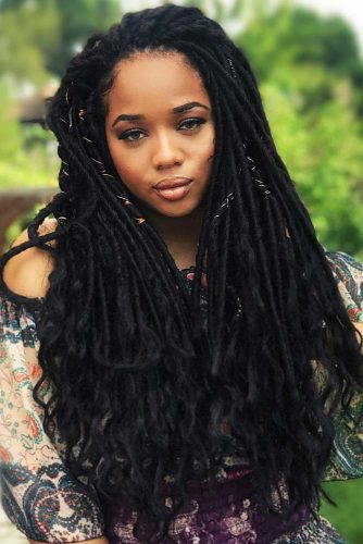 Long Faux Locs With Hair Beads