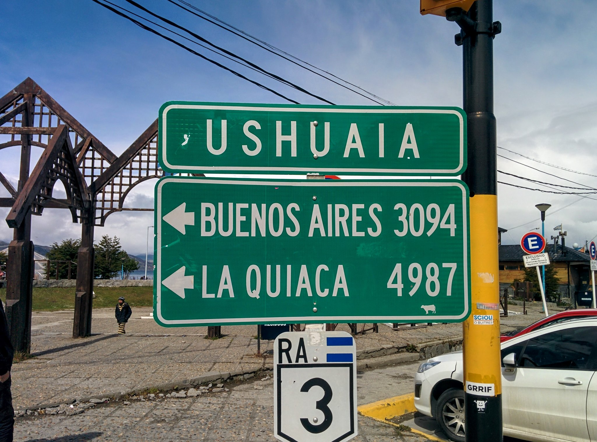 A sign in Ushuaia giving distance to Buenos Aires and La Quiaca