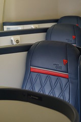 Delta One seats onboard Boeing 747-400 at theDelta Flight Museum Atlan