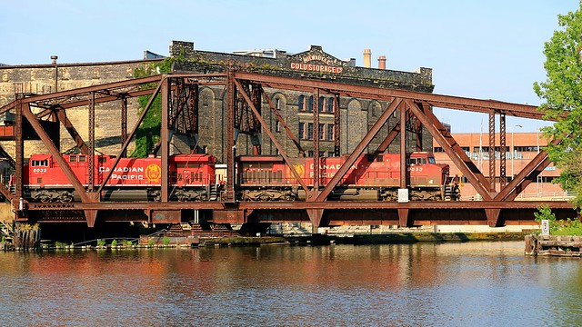 Canadian Pacific Train Crossing The Menomonee River in Milwaukee