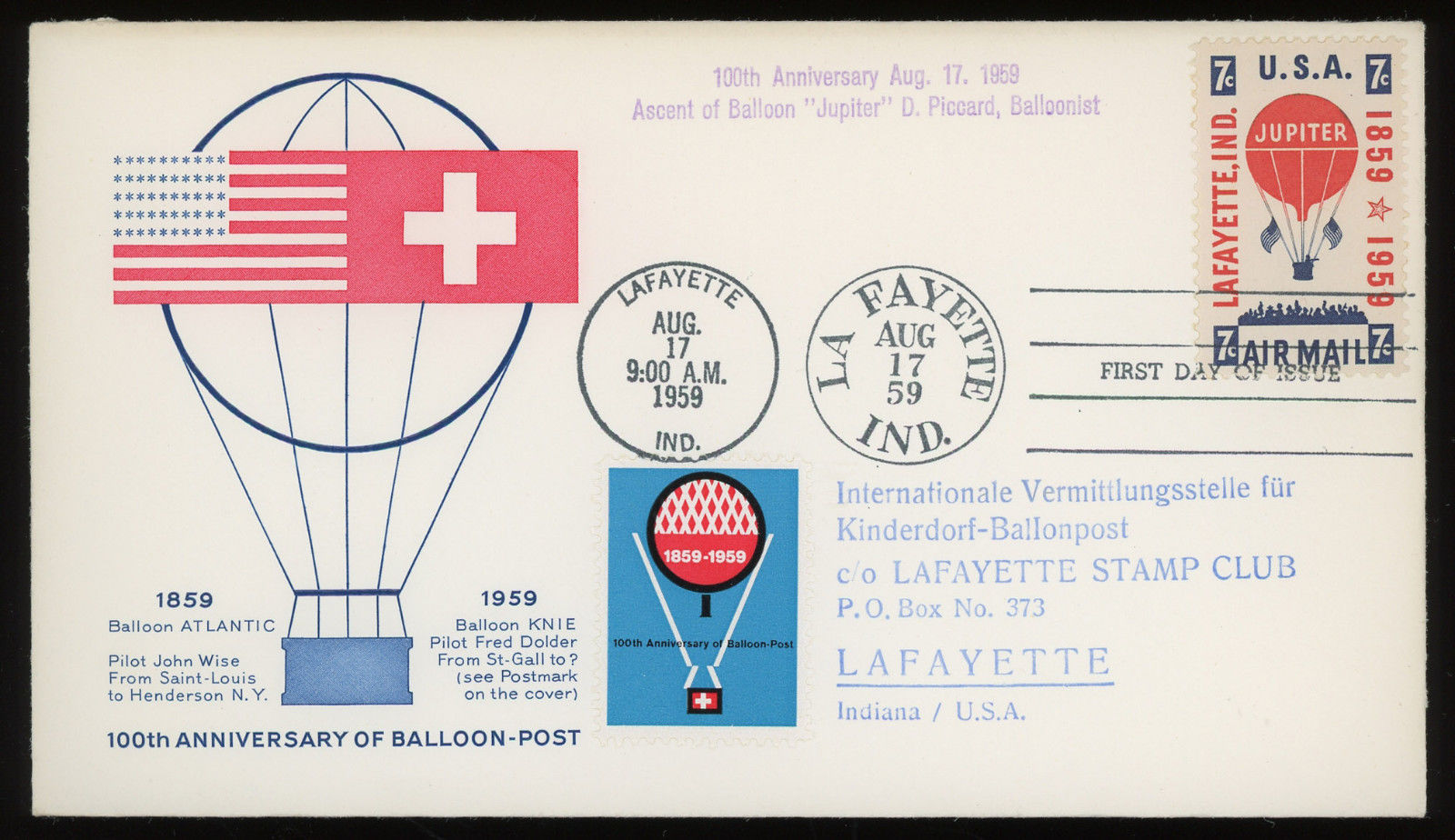 United States - Scott #C54 (1959) first day cover with cachet indicated it was aboard a balloon flight piloted by Donald Piccard, the son of Auguste Piccard who is known for his record-breaking helium-filled balloon flights, with which he studied Earth's upper atmosphere and cosmic rays, and for his invention of the first bathyscaphe, FNRS-2, with which he made a number of unmanned dives in 1948 to explore the ocean's depths. Auguste Piccard also was the first to witness views of earth from 10 miles up. Don's mother, Jeanette, the first woman to fly to the edge of space. Don was one of the driving forces behind the hot-air ballooning revival after the war while a student at the University of Minnesota. He made the first post-war free flight in 1947 with a captured Japanese balloon.[2] In 1948, he organized the first balloon club in the United States, the Balloon Club of America. This club, along with the Balloon Flyers of Akron, formed the Balloon Federation of America, today the national organization for ballooning. In 1962, Don Piccard set a new altitude record for a second-class free flight balloon, climbing to 17,000 feet. On April 13, 1963, he and Ed Yost were the first people to cross the English Channel in a hot air balloon. His son, Bertrand Piccard, along with Brian Jones, was the first to complete a non-stop balloon flight around the globe, in a balloon named Breitling Orbiter 3.