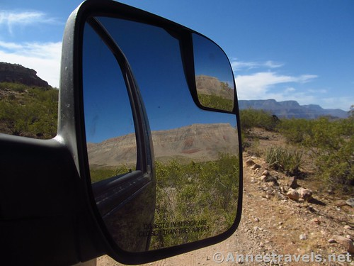 Whitmore Trail views in the sideview mirror, Grand Canyon-Parashant National Monument, Arizona