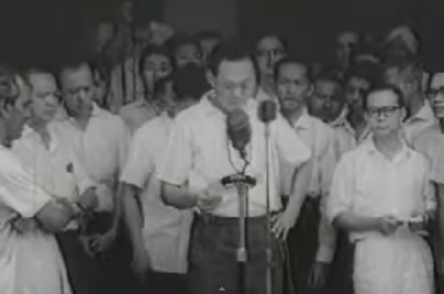Lee Kuan Yew declaring the forming of the Federation of Malaysia on September 16, 1963, in Singapore.