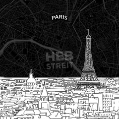 [Maps and Sketches] Paris skyline with map