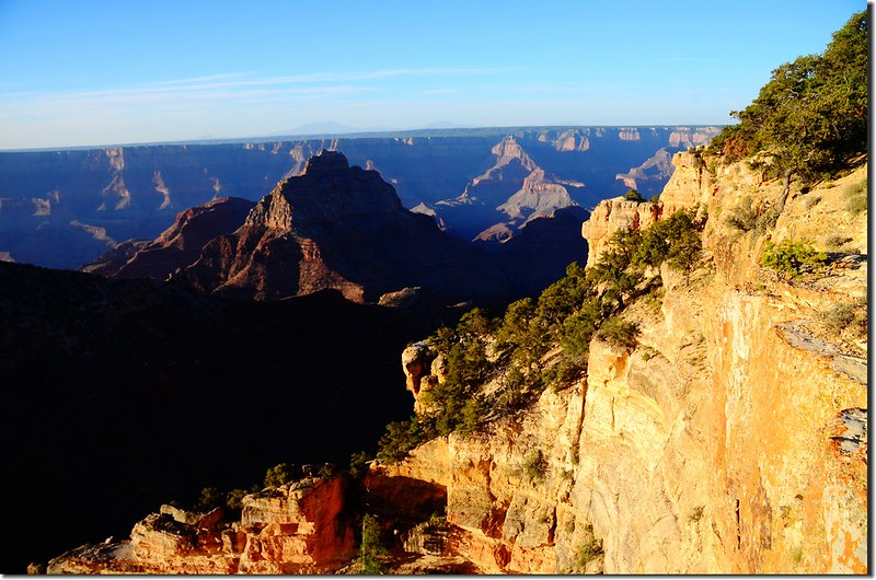 Vishnu Temple as viewed from  top of Angels Window on the North Rim of the Grand Canyon
