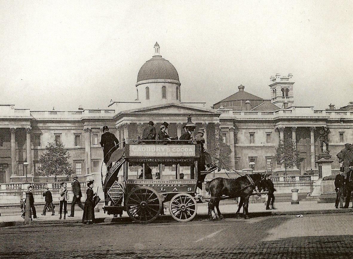 A horse-bus in Trafalgar Square, London