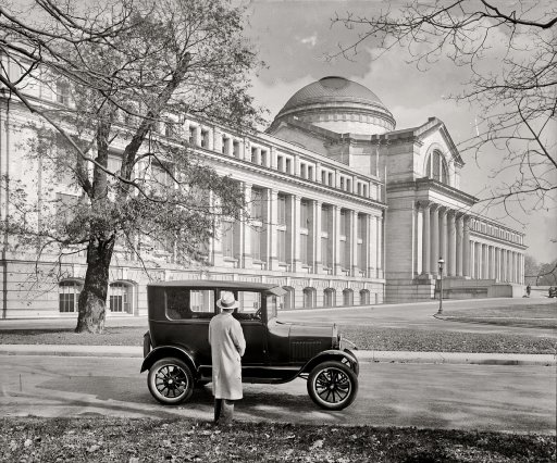 Ford Model T parked in front of the Smithsonian's National Museum of Natural History (then known as the National Museum) in en:Washington, D.C. Photo taken circa 1926.