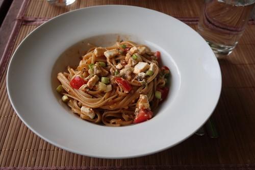 Spaghetti mit leckerer Soße aus diversen Resten