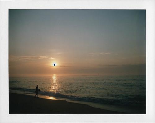ocean film beach belmar newjersey unitedstates us silhouette peelapart packfilm polaroid sunrise