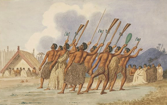 War dance, New Zealand by Joseph Jenner Merrett, circa 1845. From the collections of the Australian National Library.