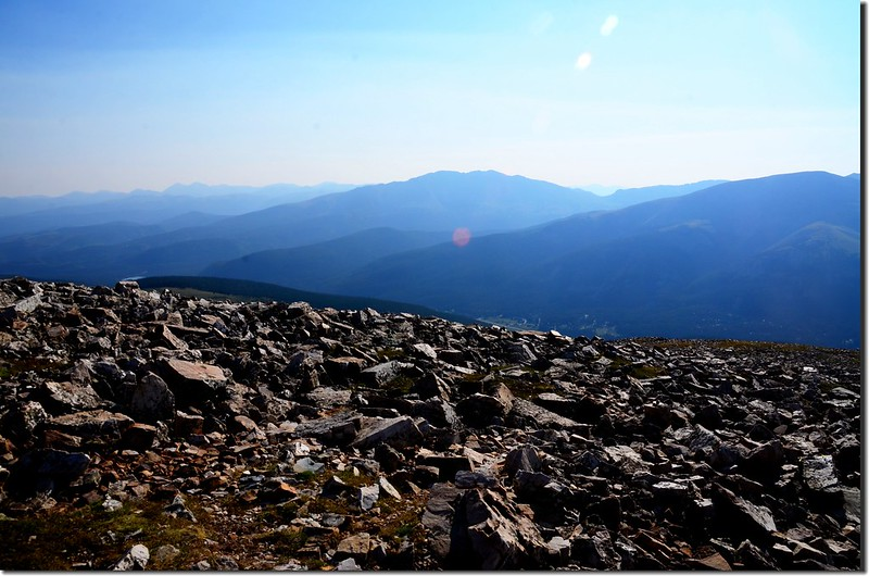 Looking northeast at Bald Mountain from Quandary Peak East Ridge trail near 13,150 ft
