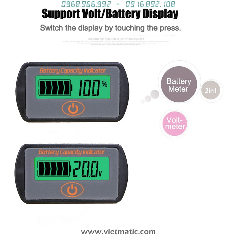 Chuyển chế độ đo Volt và mức % bằng phím cảm ứng