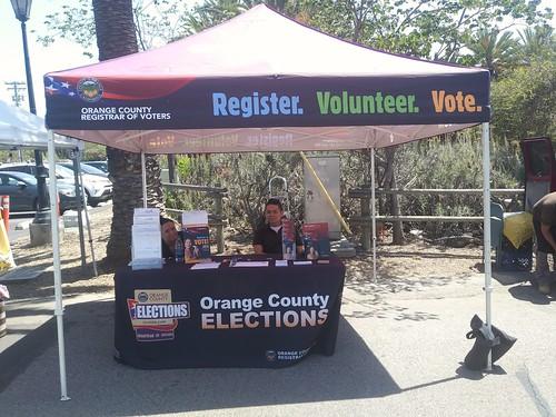 Orange County Registrar of Elections voter registration booth