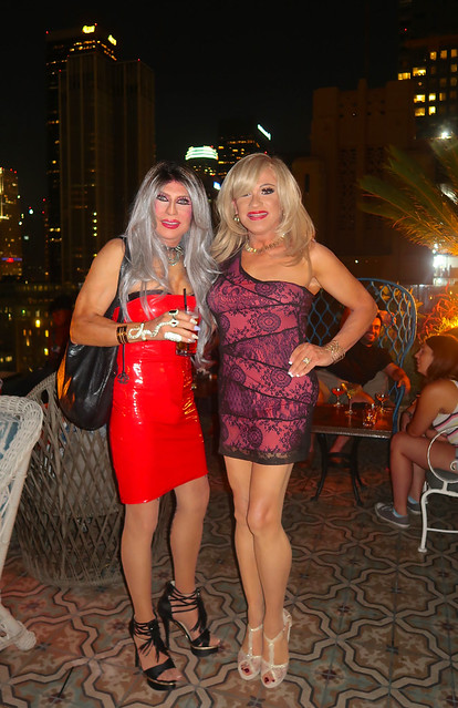 Cortney and Kelli at The Perch Rooftop Club in downtown Los Angeles