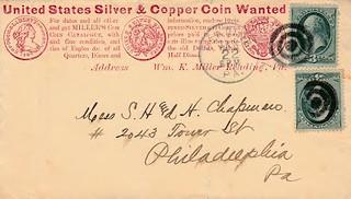 MILLER, WM K 1_22_1881 postal cover to Chapman