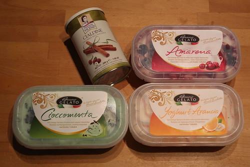Amarena, Cioccomenta, Yoghurt Arancia + Cialdine