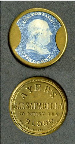 1862 Encased Postage Stamp