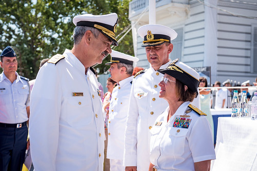 Wed, 08/15/2018 - 12:23 - 180815-N-WO404-108  CONSTANTA, Romania (Aug. 15, 2018) Vice Adm. Lisa M. Franchetti, commander, U.S. 6th Fleet and commander, Naval Striking and Support Forces NATO, speaks with Vice Adm. Alexandru Mirsu, chief of the Romanian Naval Forces, during Romanian Navy Day in Constanta, Romania, Aug. 15, 2018. Franchetti visited Constanta to participate in Romanian Navy Day, which coincided with the 100th anniversary of the unification of Romania following the end of World War I. U.S. 6th Fleet, headquartered in Naples, Italy, conducts the full spectrum of joint and naval operations, often in concert with allied and interagency partners, in order to advance U.S. national interests, security and stability in Europe and Africa. (U.S. Navy photo by Mass Communication Specialist 2nd Class Jonathan Nelson/Released)