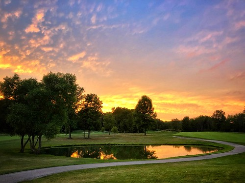 iphone golfcourse clouds path trees pond golf sunset