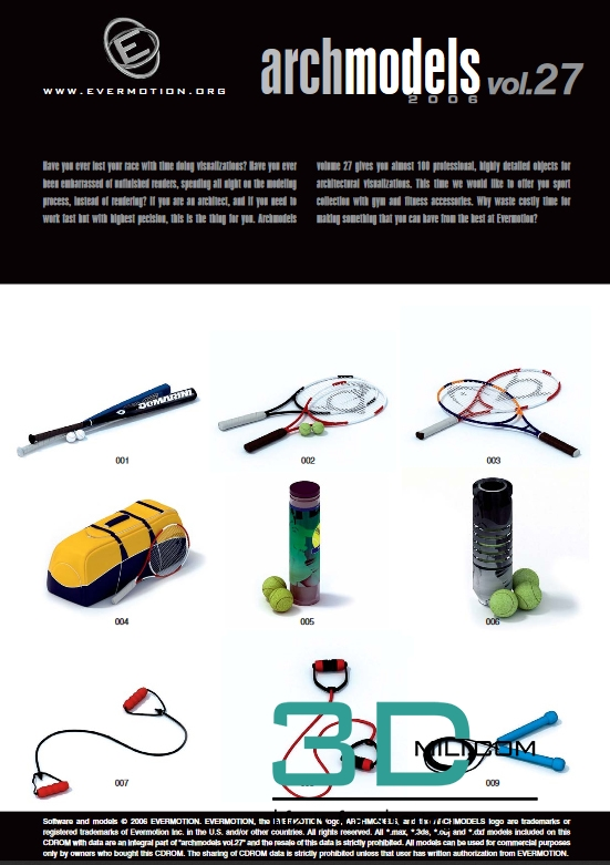 Evermotion Archmodels Vol 27 Gym And Fitness Accessories