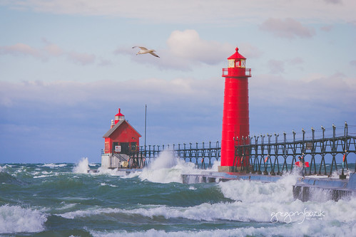 Lake Michigan- Grand Haven lighthouse. Photographer Gregory Bozik