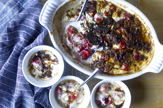 raspberry brown sugar gratin