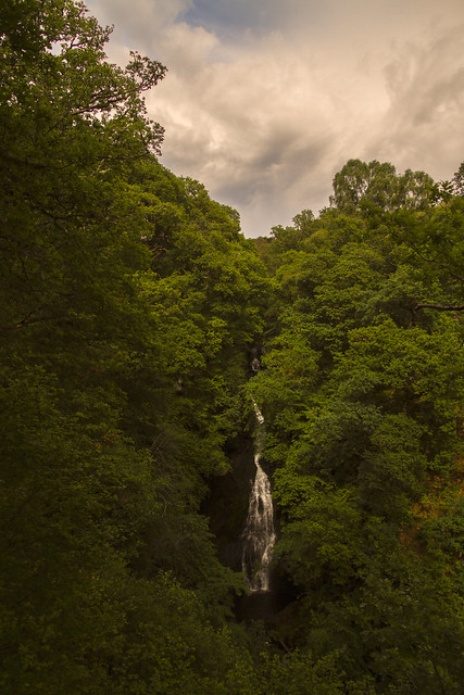 late afternoon in colour at the dramatic Black Spout Waterfall, Pitlochry, Perth & Kinross, Scotland