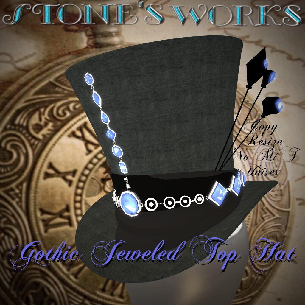 Jeweled Goth Top Hat Sapphire Stone's Works - TeleportHub.com Live!