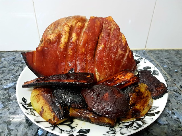 Roast pork with quince, honey & red wine