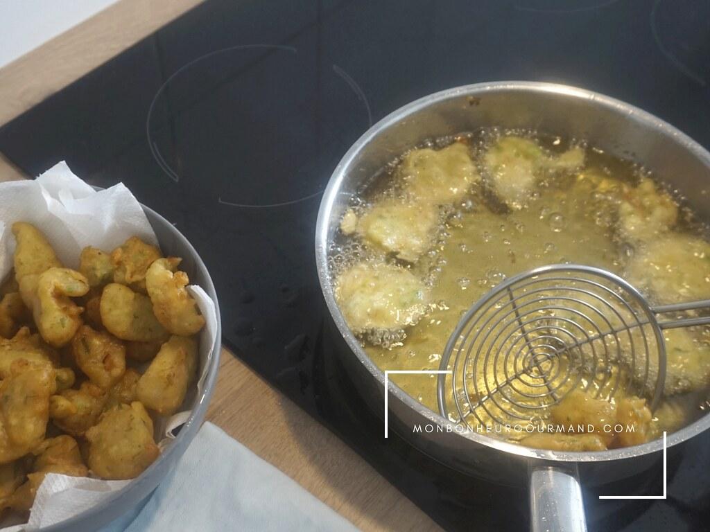 cuisson des accras de crevettes