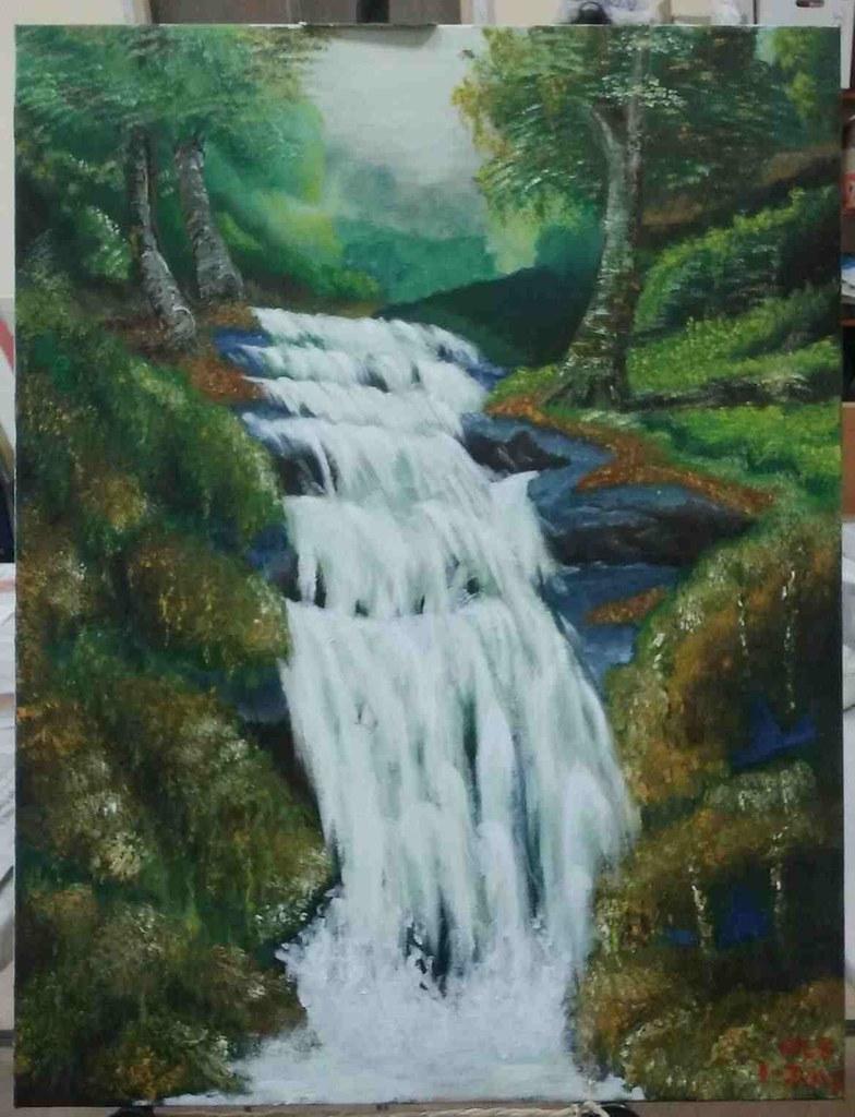 Easy Waterfall Paintings Watercolor 8 X 10 Oil Painting