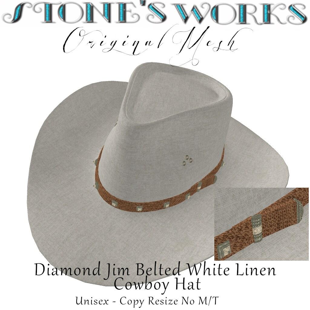 Diamond Jim Belted WhiteLinen Stone's Works - TeleportHub.com Live!