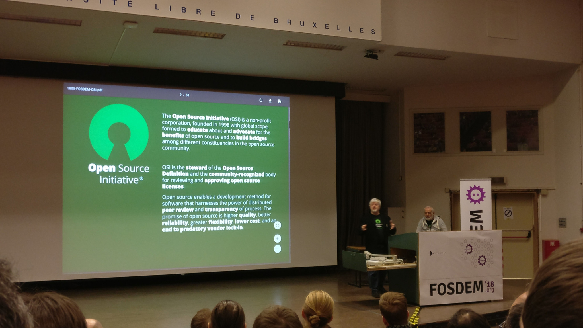 Simon Phipps speaking about the Open Source Initiative (OSI) in FOSDEM 2018