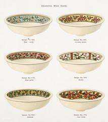 Vintage Illustration of decorated wash basins published in 1884 by J.L. Mott Iron Works.