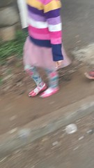 Hannah and Leah walking to kindergarten together