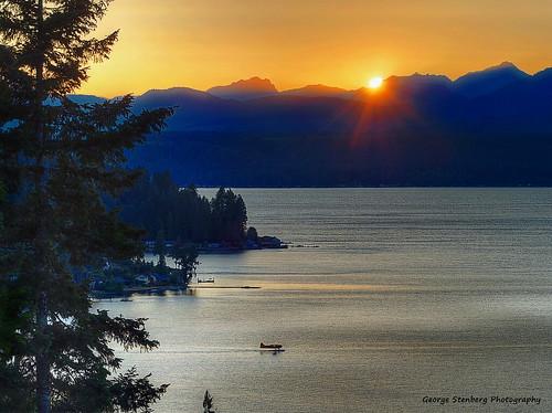 washingtonstate pacificnorthwest sunset seaplane hoodcanal water trees mountains