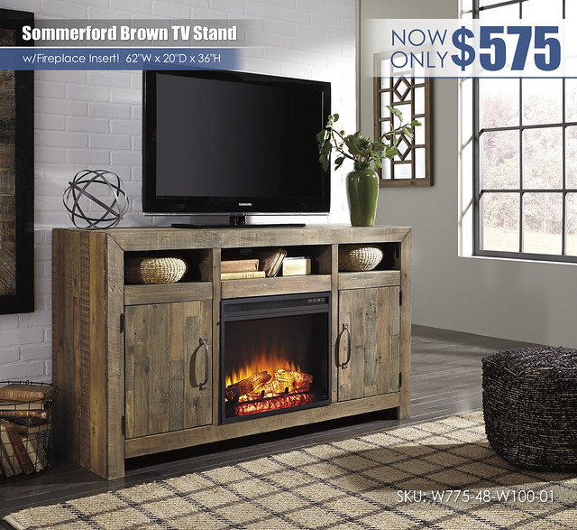 Sommerford Brown TV Stand wFireplace_W775-48-W100-01