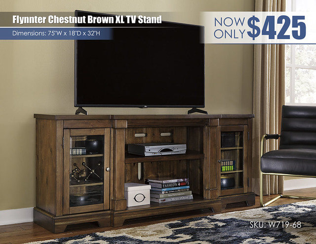 Flynnter Chestnut Brown XL TV Stand_W719-68