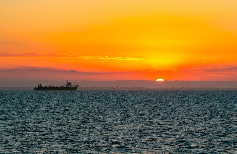 Sunset close to Port of Brisbane