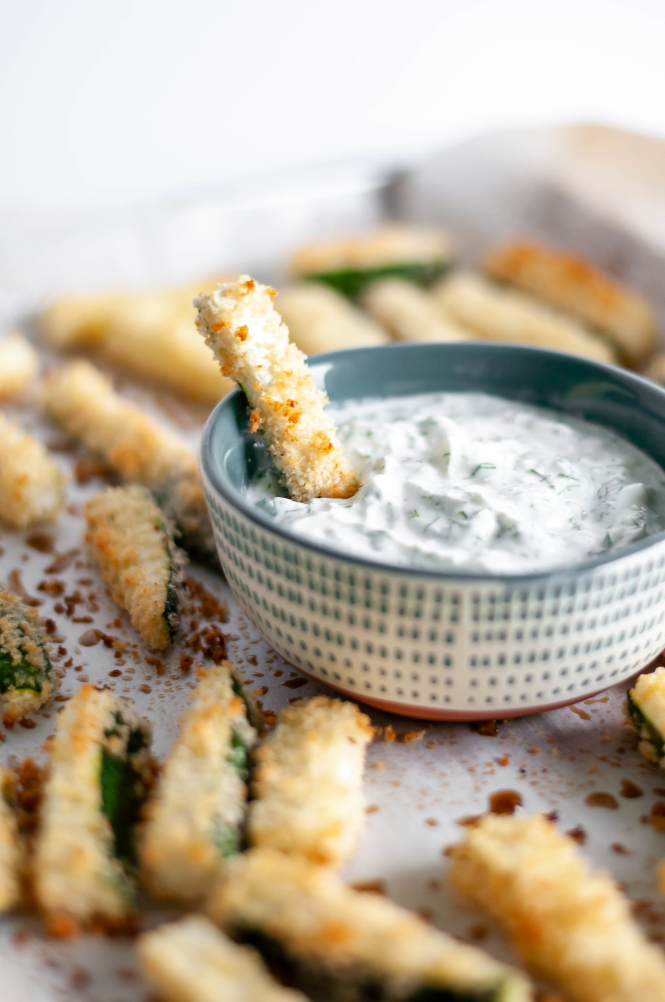 Crispy Zucchini Fries with Dill Feta Dip are super crispy and oven baked to perfection.