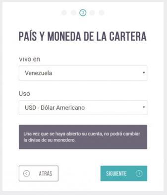País y moneda formulario de registro en Skrill