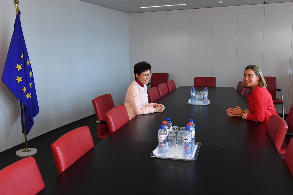 Federica Mogherini and Carrie Lam Cheng Yuet-ngor,…