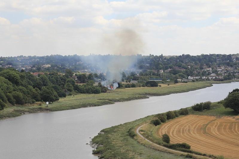 Sea Mills grass fire, from Horseshoe Bend