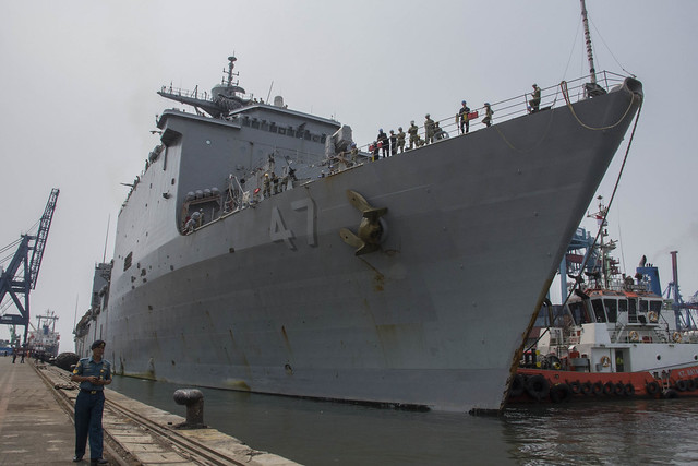 JAKARTA, Indonesia (August 9th, 2018) The dock landing ship USS Rushmore (LSD 47) arrives in Jakarta in preparation for exercise Cooperation Afloat Readiness and Training (CARAT) Indonesia 2018. CARAT Indonesia, in its 24th iteration, is designed to enhance information sharing and coordination, build mutual warfighting capability and support long-term regional cooperation enabling both partner armed forces to operate effectively together as a unified maritime force. (U.S. Navy photo by Mass Communication Specialist 3rd Class Tristin Barth)