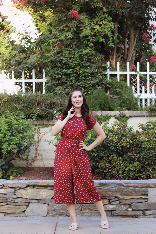 Smak Parlour Off-Duty Chic Jumpsuit in Maroon Floral Print Restricted Shoes Run Sandal in Taupe