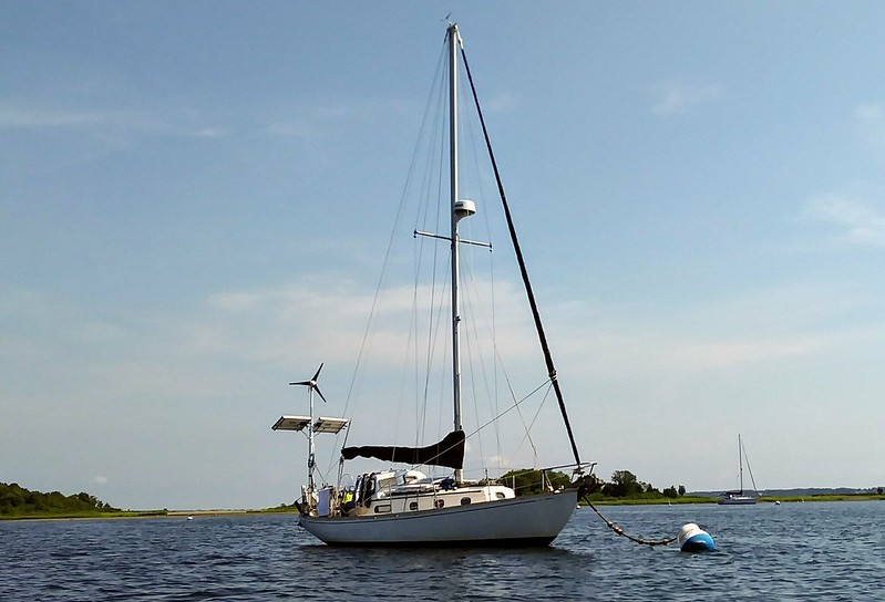 Shagging a mooring in Potter Cove, Prudence Island, RI